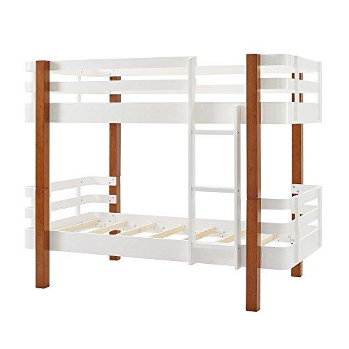 Novogratz Birdie Wood Bunk Bed, Twin over Twin Kids Bunk Bed, Pine/White
