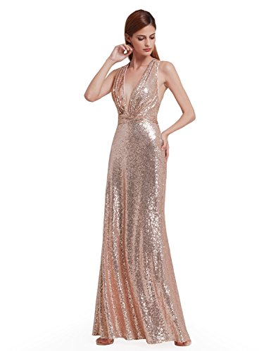 Ever-Pretty Womens Sexy V Neck Long Sequins Evening Dress 14 US Rose Gold