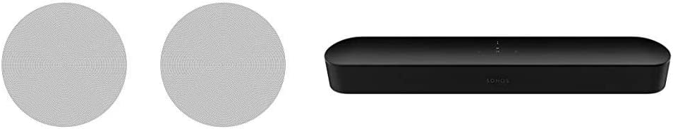 Sonos in-Ceiling Speakers - Pair of Architectural Speakers by Sonance for Ambient Listening Bundle with Sonos Beam - Smart TV Sound Bar with Amazon Alexa Built-in - Black