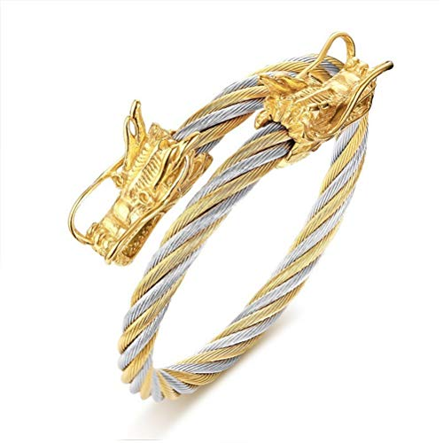 Fashion Month Elastic Adjustable Mens Dragon Charm Cuff Bracelet Stainless Steel Twisted Cable Bangle B333SG