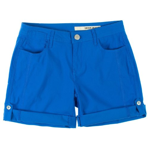 (DKNY Jeans Womens Roll Tab Shorts 8 Blue)