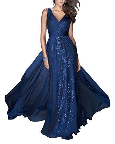 54fa5bdf2f35 Damen Kleid festliche Kleider Brautjungfer Hochzeit Cocktailkleid Chiffon  Faltenrock Elegant Langes Abendkleid Blau JT0fDkfEY