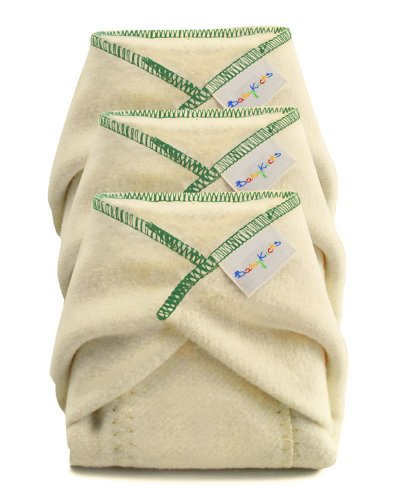 BabyKicks 3 Pack Prefold Diaper, Medium - Hemp Prefold Diapers