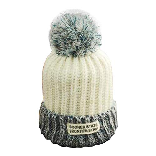 Nacome Unisex Oversized Slouchy Beanie with Pom Outdoor Warm Hairball Hats (White)