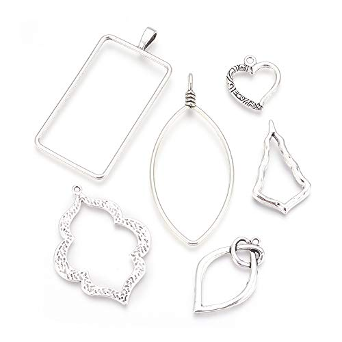 Silver Plated Resin - Pandahall 30pcs Alloy Open Bezel Charms Pendants 25.5~73.5x22.5~39x1.5~3mmTibetan Style Hollow Mould Charms with Loop Antique Silver Plated for Jewelry Making