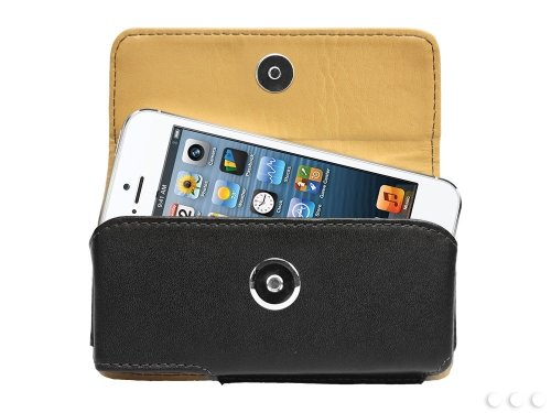 - Cellet Horizontal Premium Noble Leather Case Pouch for Apple iPhone 5, 5s, 5c, SE and 4, 4S with Removable Spring Clip
