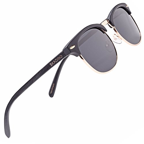SKADINO Clubmaster Beech Wood Sunglasses with Polarized Lens-Black Ebony with Grey - Warehouse Sunglasses Card Gift