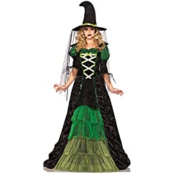 Leg Avenue Women's 2 Piece Storybook Witch Costume, Black/Green, Small/Medium