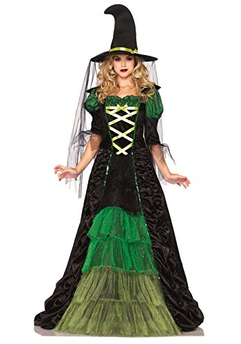 Witch Costumes (Leg Avenue Women's 2 Piece Storybook Witch Costume, Black/Green, Small/Medium)