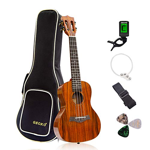 GECKO Ukulele Concert Acacia (KOA) Polished 23 inch Ukulele, 4 String with Aquila Strings Hawaii Guitar Carry bag