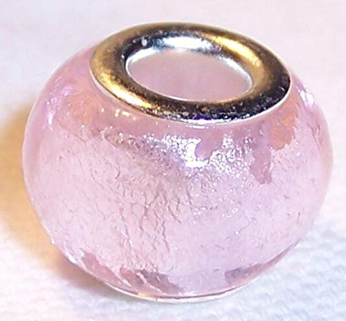 Light Pink Foil Murano Glass Large Hole Bead for Silver European Charm Bracelets id-1364