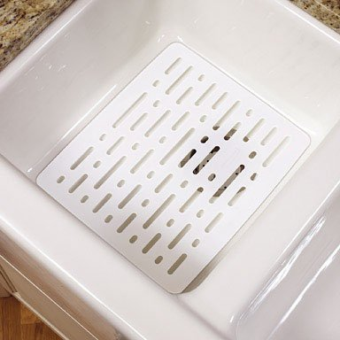 (Rubbermaid 1G1706WHT Enhanced Microbal Sink Mat, Small, White)
