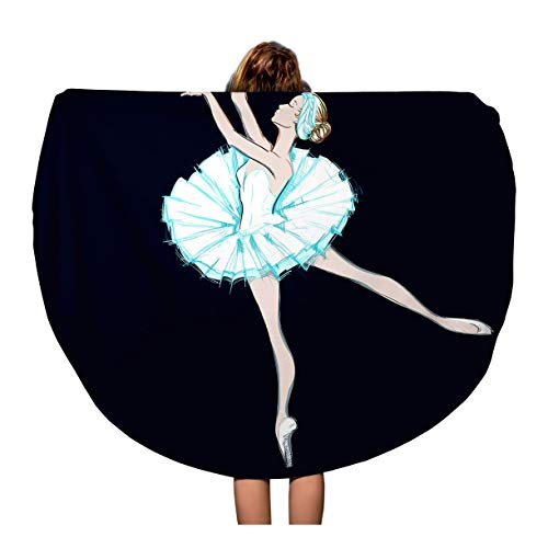 Semtomn 60 Inches Round Beach Towel Blanket Young Ballerina Ballet Dancer Girl Free Hand Sketch Travel Circle Circular Towels Mat Tapestry Beach Throw
