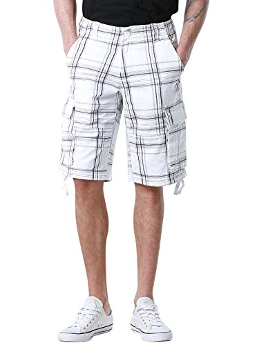 Match Men's Retro Camo Plaid Summer Polo Cargo Shorts #S3620