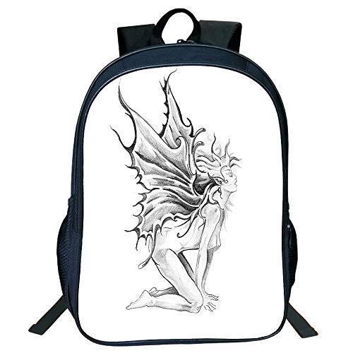 (Pictures Print Design Black Double-Deck Rucksack,Tattoo Decor,Artistic Pencil Drawing Art Print Nude Fairy Opening its Angel Wings,Black and White,for Kids,Comfortable Design.15.7