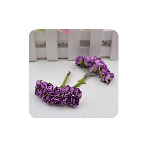 Dance to this 12pcs/lot Artificial Flower Mini Cute Paper Rose Handmade for Wedding Decoration DIY Wreath Gift Scrapbooking Craft Fake Flower,Purple