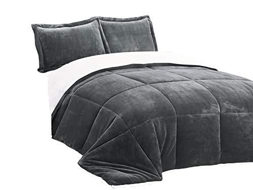- Chezmoi Collection FS200 3-Piece Micromink Sherpa Reversible Down Alternative Comforter Set (King, Gray)