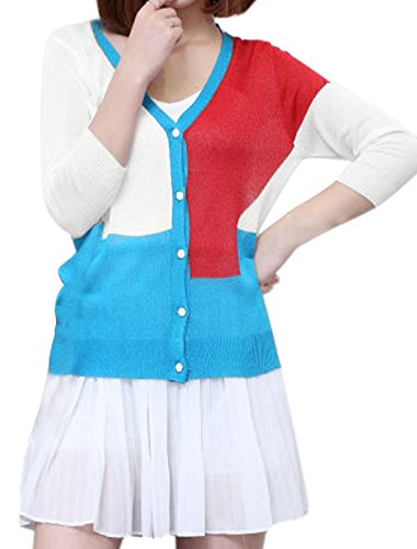 sourcingmap Mujer Botonadura Simple Bloque Color Y Cuello Cárdigan De Punto Azul
