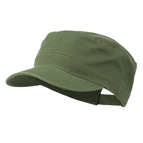 Military Cap Hat Olive (Garment Washed Adjustable Army Cap - Olive Green OSFM)