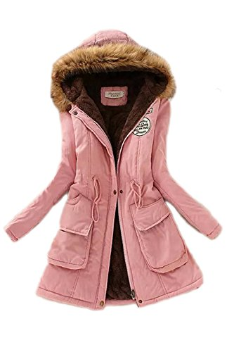 capucha invierno con Abrigo Mujeres Espesar de YACUN Parka de Pink las sudaderas chaqueta RWCxqznBfw