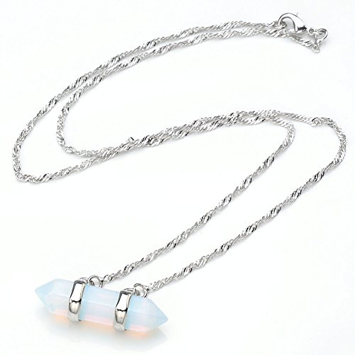 Man made Opalite Wrapped Pendant Necklace