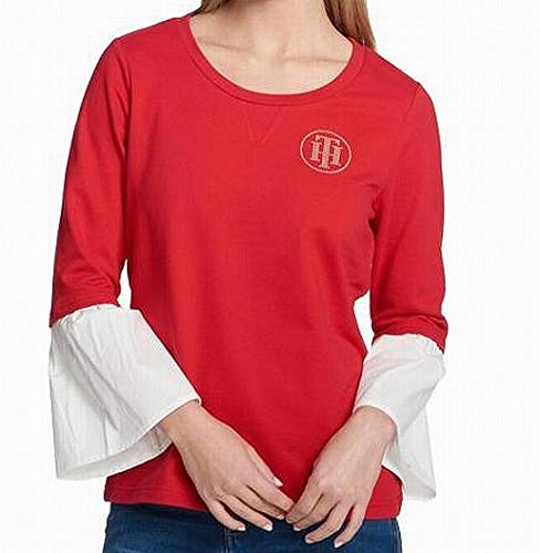 (Tommy Hilfiger Womens Embellished Logo Blouse Red XL)