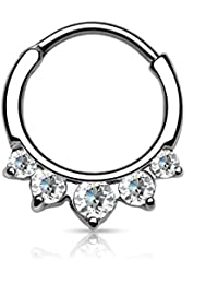 16g 11mm Rounded Top 5-CZ Crystal Fan Design Clicker Hoop for Septum and Cartilage Piercings