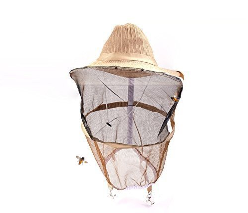 Novo Beekeeping Veil with Square Hat, Woven Straw Hat, Thickening Veil, Light Brown