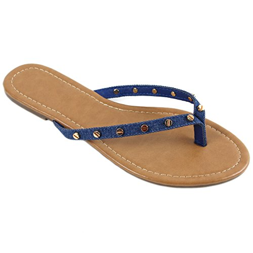 - New Womens Summer Cute Gold Plated Stud Thong Sandal Slipper Flip Flops (8, Denim)