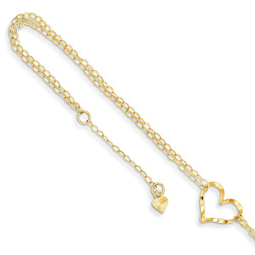 Lex & Lu 14k Yellow Gold Double Strand Heart Anklet-Prime