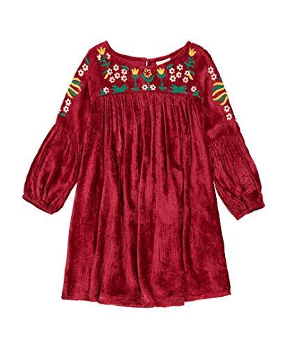 Velvet Girl Dress (Masala Kids Girls' Little Belle Dress Velvet, Red,)