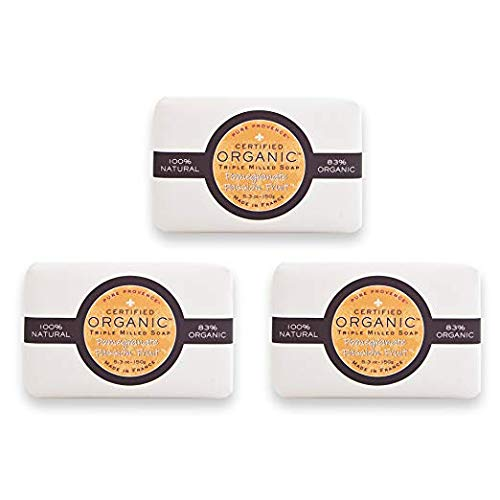 Pure Provence Certified Organic Shea Butter Soap, 100% Vegetable Based Triple Milled French Full-Size Bar Soaps, Paraben Free, Pomegranate Passion Fruit, 3 x 5.3 oz (150g), Bundle