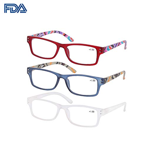 Reading Glasses Woman 3 Pairs Flexible Frame 360° Clarity Lens Plastic Readers Fashion Colors (Red+Blue+White, 1.00)