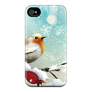Excellent Iphone 4/4s Case Tpu Cover Back Skin Protector Little Winter Bird
