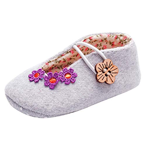 Newborn Infant Baby Girls Walking Shoes for 0-18 Months,Toddler Floral Print Elastic Button Flower Soft Sole Shoe (6-12 Months, Gray) ()