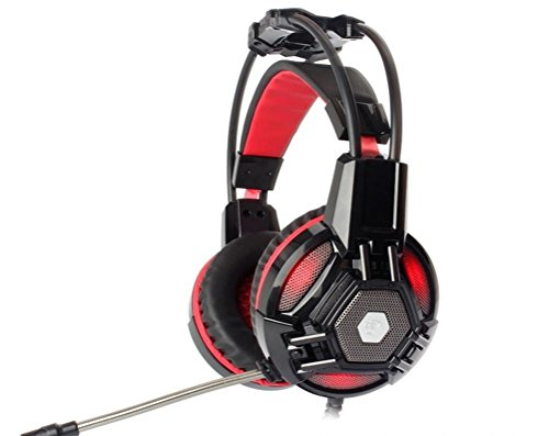 Cyber Acoustics Black Headset (JASSBO Cyber Bar Gaming Headset Stereo Bass LED Light Headphone with Mic for all computers and smartphone J3)