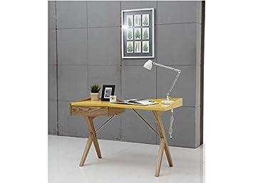 Bureau design laqué et bois yell jaune: amazon.fr: cuisine & maison