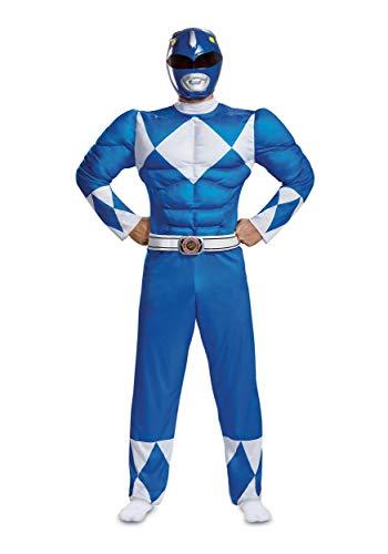 Disguise Men's Ranger Classic Muscle Adult Costume, Blue, L/XL (42-46)