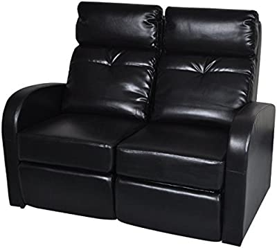 SKB family Artificial Leather Home Cinema Recliner Reclining Sofa 2-seat Black Modern Style Chair Furniture Upholstery