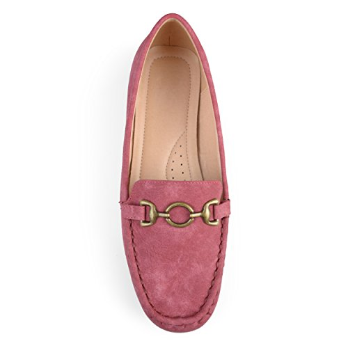 Journee Collectie Dames Vierkante Neus Comfort-zool Ketting Rode Loafers Rood