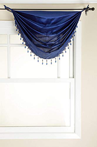 Stylemaster Tribeca Faux Silk Grommet Waterfall Valance with Beaded Trim, Cobalt, 36 by 37-Inch