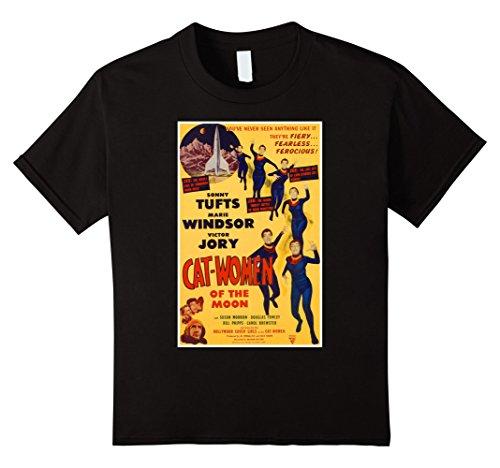 Retro Catwoman Costumes - Kids Cat Women Moon Halloween T-Shirt Freak 50s Tee Shirt 6 Black