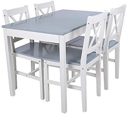 Tavolo De Pranzo Tavoli Da Cucina Con 4 Sedie In Legno Blu Amazon It Casa E Cucina