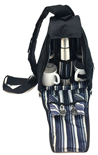 Norwood Picnic Camping Backpack Bag with Thermos Coffee Mugs Utensil (Blue)