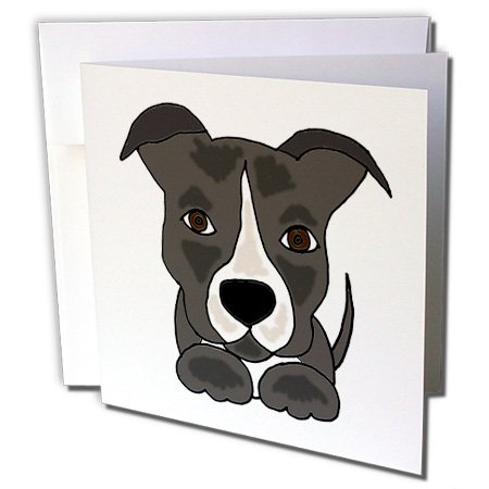 Funny Grey Pitbull Puppy Dog Cartoon - Greeting Cards, 6 x 6 inches, set of 12 -