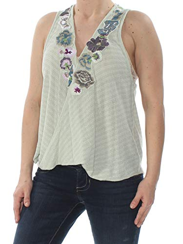 Free People Cotton Camisole - Free People Womens Embroidered Faux-Wrap Tank Top Green S