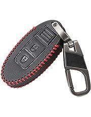 Happyit leren autosleutelafdekking case sleutelhanger voor Nissan Tiida Livina X-Trail Qashqai maart Juke Pathfinder opmerking GTR Kicks Murano Teana 3 knoppen A
