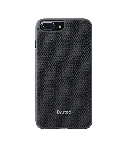 iPhone 6 Plus /6s Plus/7Plus /8 Plus, Evutec AERGO Series Ballistic Nylon Wireless Charging Compatible Premium Protective Phone Case-Black (AFIX+ Magnetic Mount Included) ()