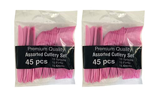 - Hot Pink Party Supplies - Plastic Forks Spoons Knives Utensil Combo Set (Serves up to 30) (Pink)