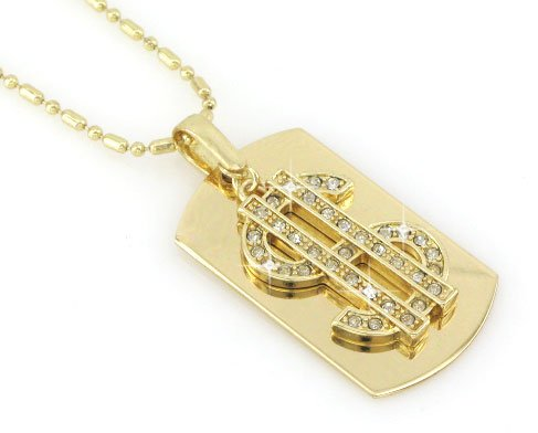 Dollar Sign Gold Tone Dog Tag Necklace-With Free Chain